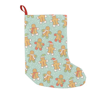 Gingerbread men pattern small christmas stocking