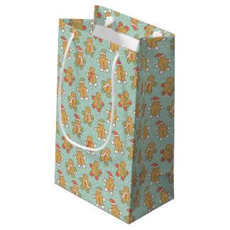 Gingerbread men pattern small gift bag