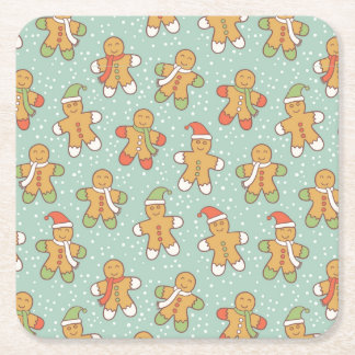 Gingerbread men pattern square paper coaster