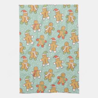 Gingerbread men pattern tea towel