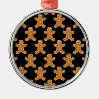 Gingerbread Men Silver-Colored Round Decoration