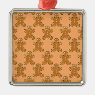 Gingerbread Men Silver-Colored Square Decoration