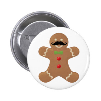 Gingerbread Mustache Man 6 Cm Round Badge