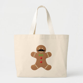 Gingerbread Mustache Man Tote Bags