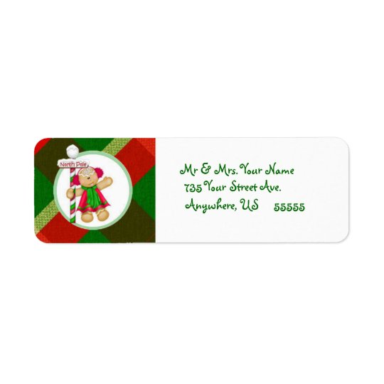 Gingerbread Northpole Return Address Labels