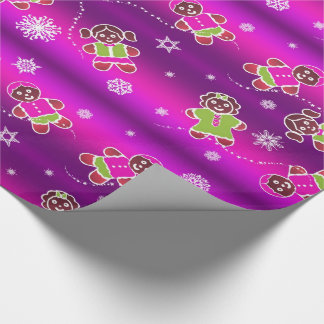 Gingerbread on Magenta Wrapping Paper