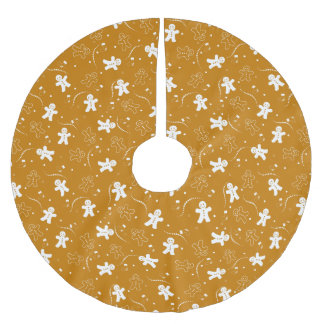 Gingerbread Pattern Brushed Polyester Tree Skirt