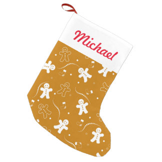 Gingerbread Pattern Small Christmas Stocking