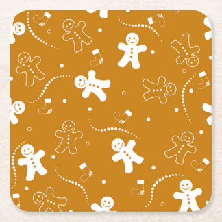 Gingerbread Pattern Square Paper Coaster