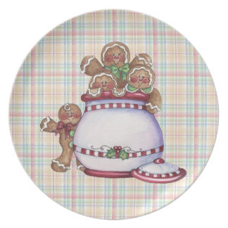 Gingerbread Plaid Holiday Plate