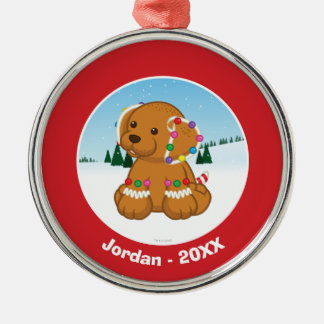 Gingerbread Puppy Silver-Colored Round Decoration