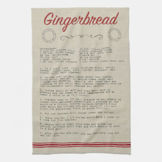 Gingerbread Recipe Tea Towel
