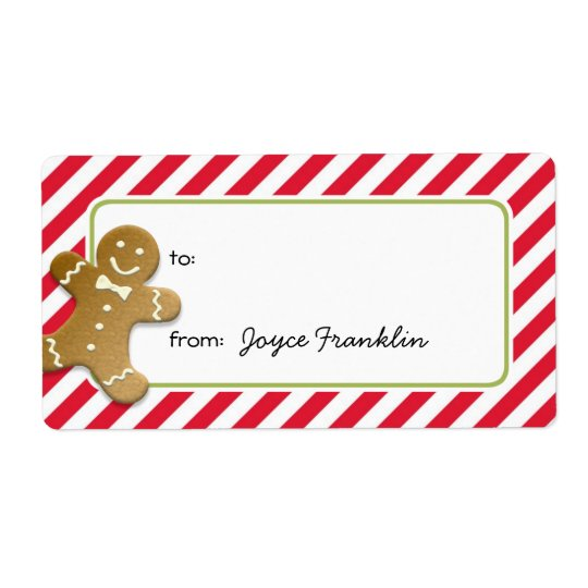 Gingerbread red stripes custom to from gift tag