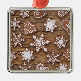 Gingerbread Reindeer Cookies Silver-Colored Square Decoration