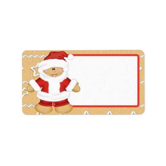 Gingerbread Santa Claus Address Label