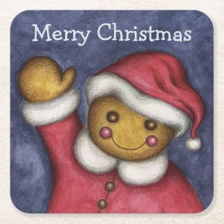 Gingerbread Santa Coasters Square Paper Coaster