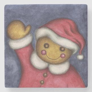 Gingerbread Santa Stone Coaster Stone Coaster