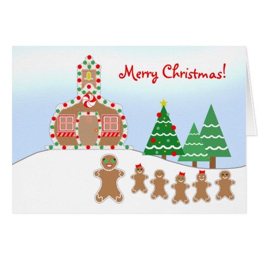 Gingerbread Schoolhouse Teacher Christmas Card