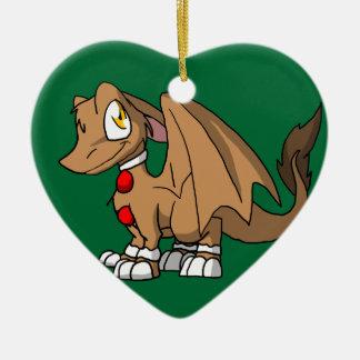 Gingerbread SD Furry Dragon Ceramic Heart Decoration