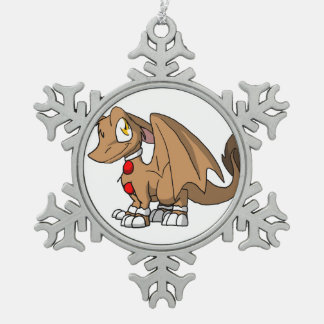 Gingerbread SD Furry Dragon Pewter Snowflake Decoration