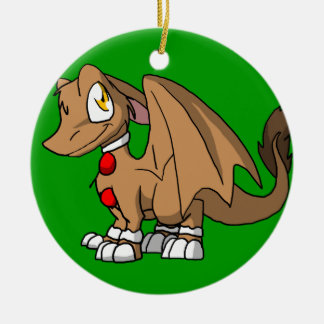 Gingerbread SD Furry Dragon Round Ceramic Decoration