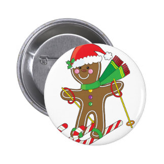 Gingerbread Skier 6 Cm Round Badge