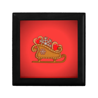 GINGERBREAD SLEIGH & COOKIES by SHARON SHARPE Small Square Gift Box