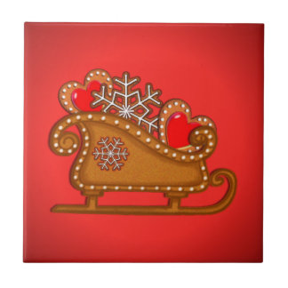 GINGERBREAD SLEIGH & COOKIES by SHARON SHARPE Small Square Tile