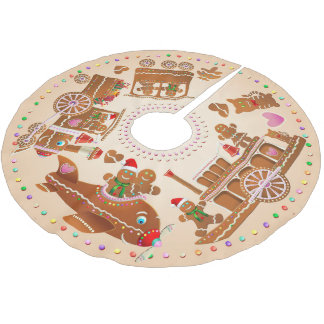 Gingerbread Steam Train, Steamboat, And Airplane Brushed Polyester Tree Skirt