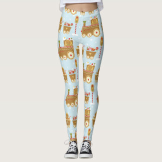 Gingerbread Train Christmas Leggings