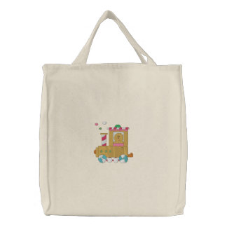 Gingerbread Train Embroidered Bags