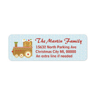 Gingerbread Train Return Address Mail Labels