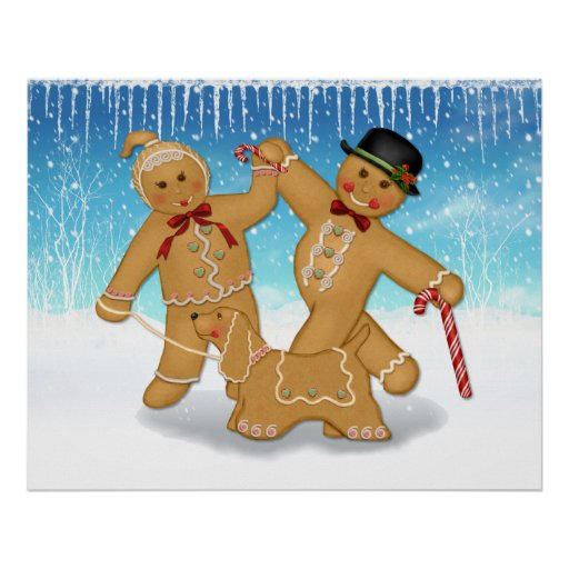 Gingerbread Trio Poster