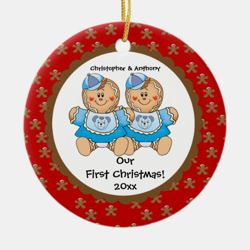 Gingerbread Twins Baby's First Christmas Ornament