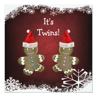 Gingerbread Twins Christmas Baby Shower Card