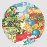 Gingerbread Wishes Chihuahua Christmas Art Round Sticker