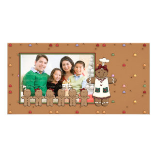 Gingerbread Woman and Kids Customized Photo Card