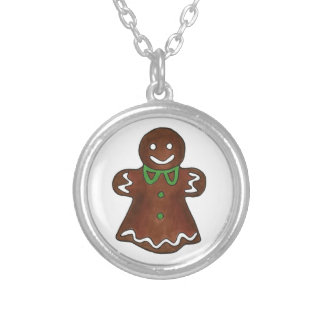 Gingerbread Woman Lady Christmas Cookie Necklace