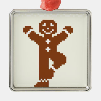 Gingerbread Yoga Tree Asana Silver-Colored Square Decoration