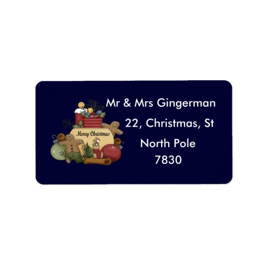 Gingerman Christmas Address Label