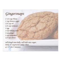 Gingersnaps Recipe Postcard