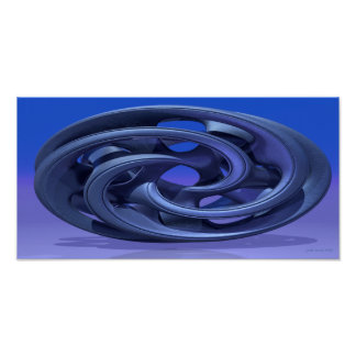 Gingezel Abstract 330 A 3D Sculpture in blue Poster