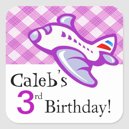 Gingham Aeroplane Birthday Party Favour | lilac Square Sticker