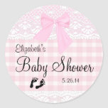 Gingham and Lace Image-Baby Shower- Round Sticker