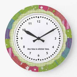 Gingham and Patchwork Quilter s Wall Clock