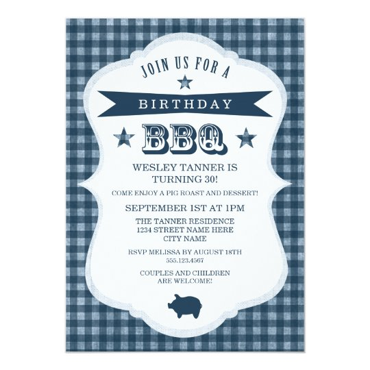 Gingham Barbecue Birthday Party Invitation