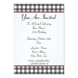 gingham birthday party invitation