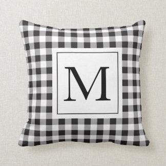 Gingham Black Monogram Pillow