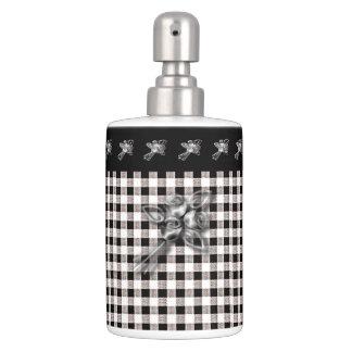 Gingham-Black-White-Silver-Roses-Trim(c) Bathroom Bathroom Set