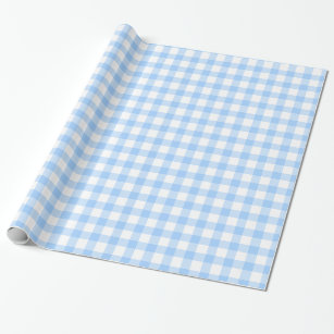Gingham blue and white patterned wrap wrapping paper